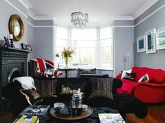 similar to how i want my future living room - red couches, gray walls and black furniture