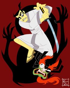 The wonderful Samurai Jack. Great design and stories.    Google Image Result for http://www.deviantart.com/download/23987135/Samurai_Jack_by_ktshy.jpg