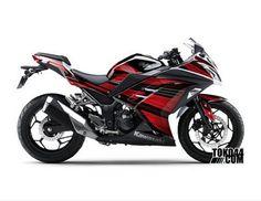 Decal Sticker Modifikasi Kawasaki Ninja 250 Fi SE (Special Edition) ABS Putih - Techno V2 Red