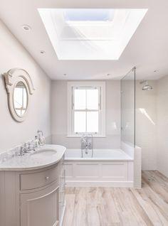 Modern victorian bathroom renovation | bath | walk in shower | rooflight | wood effect tile floor |