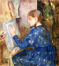 Young Girl Drawing by Berthe Morisot (France)