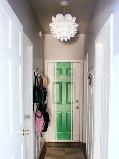 Knappa Pendant Light Photo-- love the door! Diy Barn Door, Diy Door, Feng Shui Apartment, Apartment Living, Living Room, Ikea Hallway, Entryway, Patio Door Coverings, Tan House