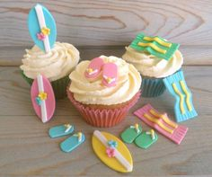 Pool Party Cake Cupcake Edible Fondant Decor Beach by LenasCakes