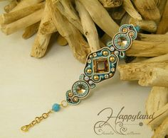 Le gioie di Happyland, blue turquoise and brown soutache and beadwork bracelet