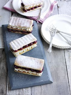 Rachel Khoo's roasted cherry and vanilla mousse millefeuille