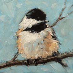 New chickadee painting from Etsy shop https://www.etsy.com/listing/236608967/chickadee-art-impressionistic-4x4