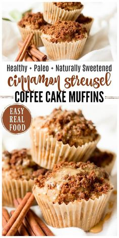 Healthy Cinnamon Streusel Coffee Cake Muffins are fun for weekend breakfasts and make a lovely addition to a holiday brunch. These real food muffins are Paleo friendly and naturally sweetened with a delectable crumbly streusel topping and a sweet maple glaze. | Recipes to Nourish // Gluten Free | Grain Free | #allergyfriendly #muffins #glutenfree #paleo #brunch via @recipes2nourish