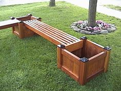Outdoor Bench Seat With Planter Box.Oasis Bench Seat With Planter Boxes Kmart. How To Fill This Garden Bench With Planter Boxes. Deck Planters, Planter Bench, Wooden Planters, Diy Bench, Bench Seat, Pergola Planter, Bench Storage, Cedar Planters, Bench Decor