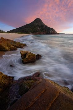 Tomaree Mountain sunrise from Zenith Beach, Port Stephens, NSW New South Wales, East Coast Australia Road Trip by Tasmania Australia, Australia Beach, Coast Australia, Australia Travel, Western Australia, Melbourne, Sydney, Brisbane, Ocean Photography
