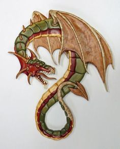 Animals - The Guardian Intarsia Design Pattern Intarsia Wood Patterns, Wood Carving Patterns, Wood Carving Art, Wood Art, Rocking Horse Plans, Polymer Clay Dragon, 3d Cnc, Dragon Pictures, Intarsia Woodworking
