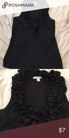 Adorable black tank Blouse with ruffle collar Ruffle collared tank Blouse. Very flattering New York & Company Tops Blouses