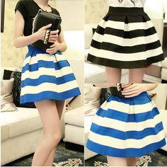 Sweety Womens Girls Mini Dress Retro Flared stripe Skirt