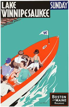 From the Boston and Main Railroad, a travel poster for Lake Winnipesaukee (Sunday). Circa 1950s. Vintage travel poster. Lake Winnipesaukee is a popular vacation destination located in the Lakes Region