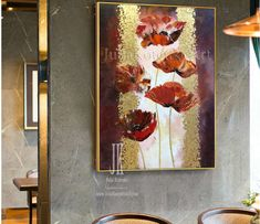 Home Decor Inspiration Large Abstract Oil Painting Gold Leaf Painting Abstract Flowers Red Poppies Painting On Canvas Gold Painting Home Decor by Julia Kotenko by JuliaKotenkoArt on Etsy Cheap Beach Decor, Cheap Wall Decor, Flower Painting Canvas, Poppies Painting, Gold Wall Decor, Oversized Wall Art, Decor Logo, Home Decor Pictures, Painted Leaves