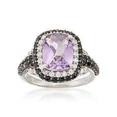 2.70 Carat Amethyst Ring With CZs and Black Spinel in Sterling Silver. Love itttt!