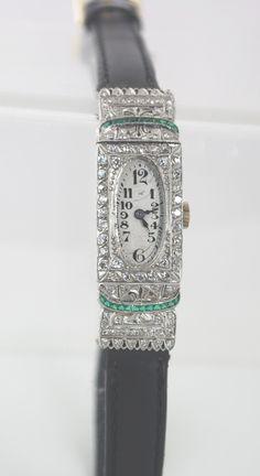 Vintage diamonds and emerald watch