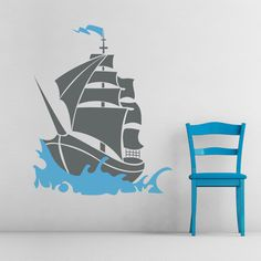Share us on your network of choice and get 10% off your order! Pirate Ship Wall Art Decal