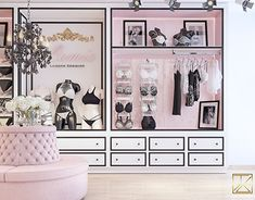 The place is an eclectic design of a lingerie store and atelier . Bridal Boutique Interior, Boutique Interior Design, Boutique Decor, Clothing Store Interior, Clothing Store Design, Lingerie Store Design, Lingerie Stores, Underwear Store, Retail Store Design