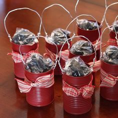 Cute Christmas gift idea -- reused soup cans to stuff baked goods in. Cute for coworkers Cute Christmas Gifts, Homemade Christmas Gifts, Merry Little Christmas, Christmas Goodies, Christmas Baking, All Things Christmas, Homemade Gifts, Christmas Holidays, Soup Can Crafts