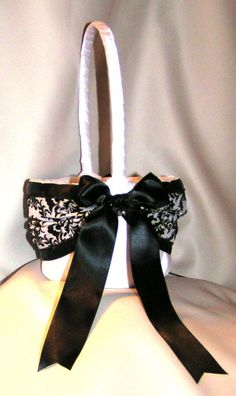 Use coupon pinit2014 for 15% off until 12-31-14 DAMASK Black and White Wedding Flower Girl Basket by Jessicasdaydream