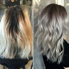 20 Cute and Easy Blonde Balayage Hairstyles – My hair and beauty Silver Blonde, Balayage Hair Blonde, Brown Blonde Hair, Honey Balayage, Blonde Brunette, Haircut And Color, Grunge Hair, Hair Transformation, Cool Hair Color