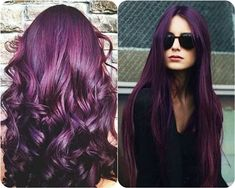 Long curly purple dyed hair.  Be ready to try any 2016 Hairstyle Trend you want with an amazing Hair Vitamin!! hair.howtonow.org