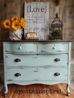 Antique Dresser in Duck Egg blue. annie sloan inspired DIY furniture make over. thrifted, thrifting, up-cycled, refurbished, recycled home furnishings. chest of drawers, 4 drawer.