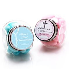 First Communion Personalized Mini Glass Candy Jars - First Communion & Religious Favors - Other Occasions - Wedding Favors & Party Supplies - Favors and Flowers