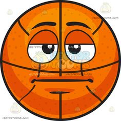 A Bored Basketball:  An inflated orange spherical rubber ball with black ribs divided into eight segments eyelids half open lips shut straight in boredom  The post A Bored Basketball appeared first on VectorToons.com.  #emoji #emoticon #clipart #graphicdesign #vectortoons