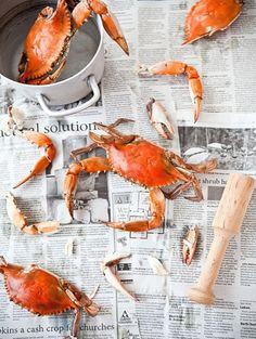 Cracking crabs over newspaper