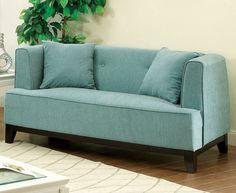 Amazon.com: Furniture of America Elsa Neo-Retro Love Seat, Teal: Kitchen & Dining
