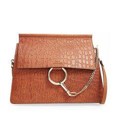 Faye Croc Embossed Leather Shoulder Bag via @WhoWhatWear