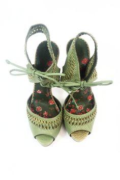 Sandales vertes à talons hauts - Neuves