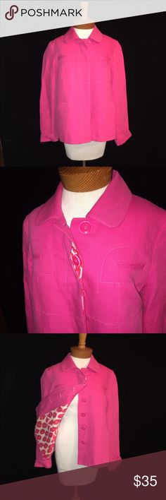 Etcetera size 10 hot pink jacket Cropped jacket. Hot pink. Cotton. Lined. Great condition. Button front. Placket covered buttons. Etcetera Jackets & Coats Blazers