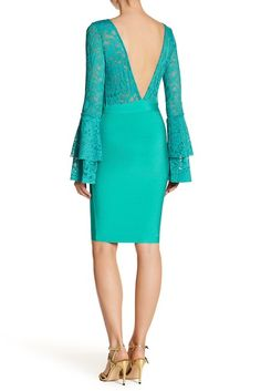 Image of Wow Couture Deep V Plunge Bell Sleeve Dress