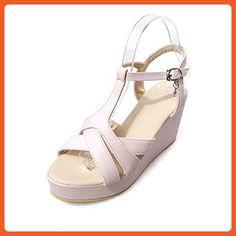6207c2994 AllhqFashion Women s Buckle Open Toe High Heels Pu Platforms   Wedges