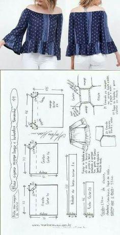 11 Ideas De Patrones Blusa Campesina Patrones Blusa Campesina Patrones De Costura Gratis Patrones Gratis De Costura