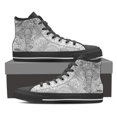 White Elephant - Women's High Top Canvas Sneakers - Vaisb