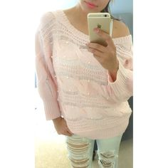 Pink Knitted sweater Loose. Light. Can be worn off shoulders. Has white pearls in random places in the front of the sweater. Size says Uk 14 Eur 40 therefore according to a size chart it is an 8/10 in US. Sweaters