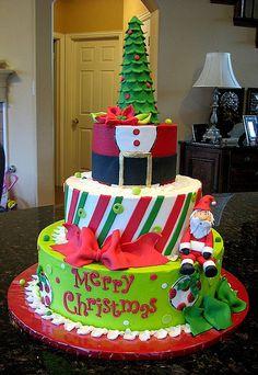 Christmas Cake with tree and Santa.