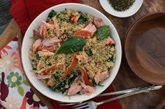 girlichef: Whole Wheat Couscous w/ Smoked Salmon, Baby Kale, & Za'atar