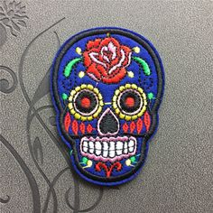 Blue Sugar SKULL Punk Skull Patches cool patches iron on patches