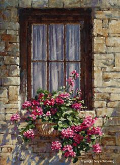 ✿Flowers at the window & door✿ Sunday House Flowers by Sonya Terpening