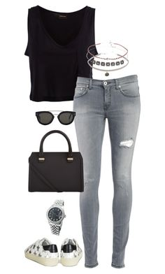 """""""Untitled #3344"""" by meandelstyle ❤ liked on Polyvore featuring Pieces, Dondup, Topshop, Victoria Beckham, CÉLINE, Yves Saint Laurent, Rolex, women's clothing, women and female"""