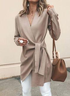 Women's Clothing,Outerwear,Khaki Cotton Long Sleeve Casual Solid V neck Cardigan Look Fashion, Winter Fashion, Fashion Outfits, Womens Fashion, Ladies Fashion, Fashion Coat, Cheap Fashion, Fashion 2017, Trendy Fashion