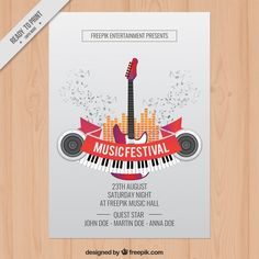 Rock party flyer template Free Vector