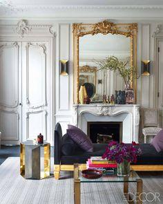Glamorous Paris Apartment - Champeau Wilde Design - ELLE DECOR. Lovely brass accents
