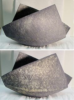 Large Folded Vessel with Deep Blue-Grey and Cream Tones   Mihara Ken  (Japanese, born 1958)