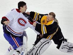 Boston Bruins goalie Tim Thomas and Montreal Canadiens goalie Carey Price, left, fight in second period action during their NHL hockey game in Boston, Massachusetts February, 9 Hockey Games, Ice Hockey, Boston Bruins Goalies, Tim Thomas, Dont Poke The Bear, Hockey Pictures, Florida Panthers, Montreal Canadiens, Hockey Players