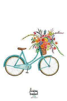 Vintage Blue Bike Art by Lindsay Brackeen Bicycle Illustration, Illustration Blume, Watercolor Illustration, Bicycle Drawing, Bicycle Painting, Watercolor Flowers, Watercolor Art, Bike Art, Wall Art Prints
